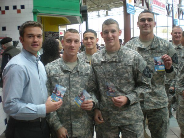 Robbie with soldiers at Fort Lewis McChord