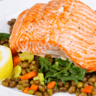 Pan-Roasted Salmon with Lentil Pilaf