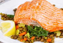 Roasted Salmon with Lentil Pilaf