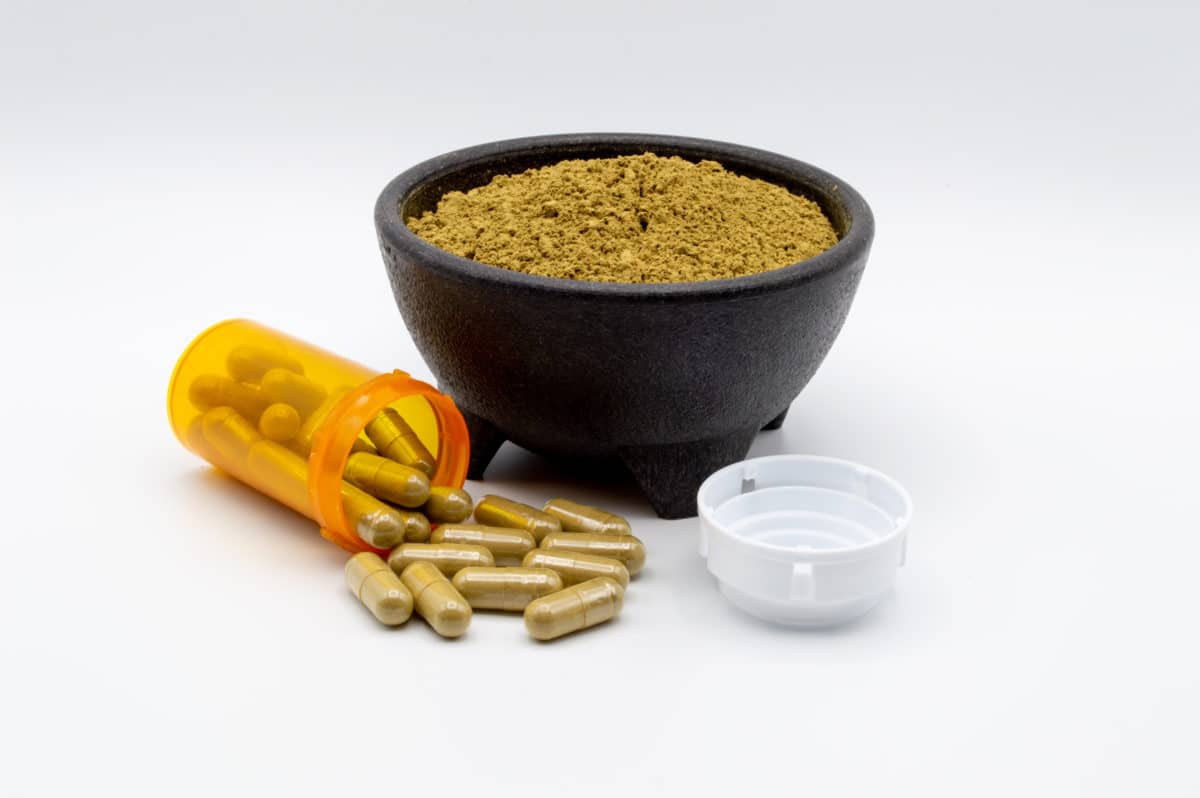 kratom pills on a counter