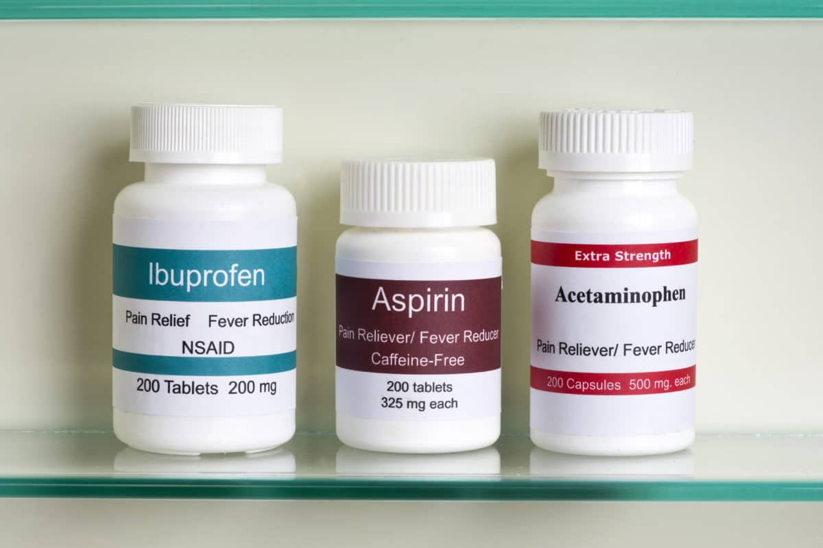 bottles of NSAIDs on counter