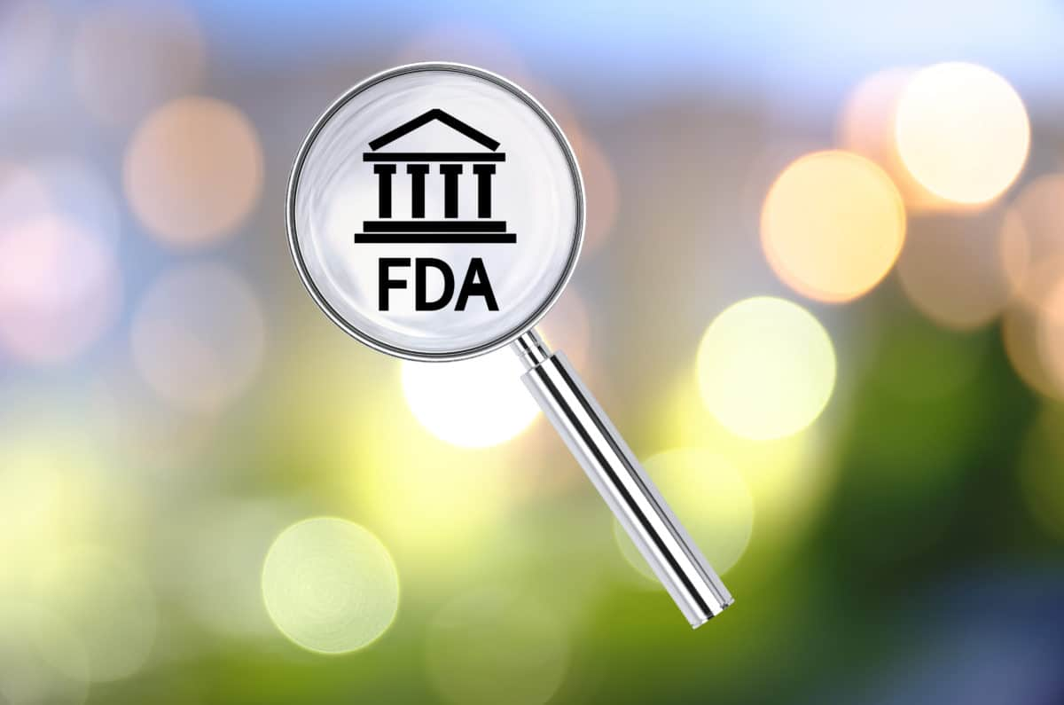 FDA logo under a microscope