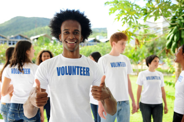 Black man volunteering to improve his anxiety